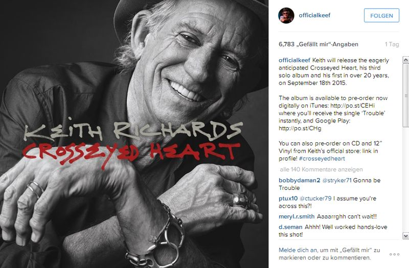 Keith Richards, Crosseyed Heart (Instagram: @officialKeef)