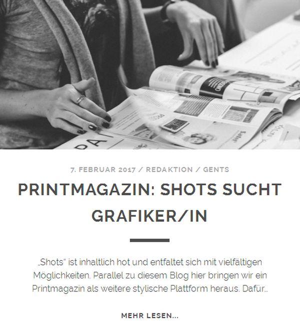Das Shots Magazin sucht Grafiker/innen