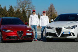 Formel-1-Stars Kimi Räikkönen und Antonio Giovinazzi lernen sportliche Serienfahrzeuge von Alfa Romeo kennen