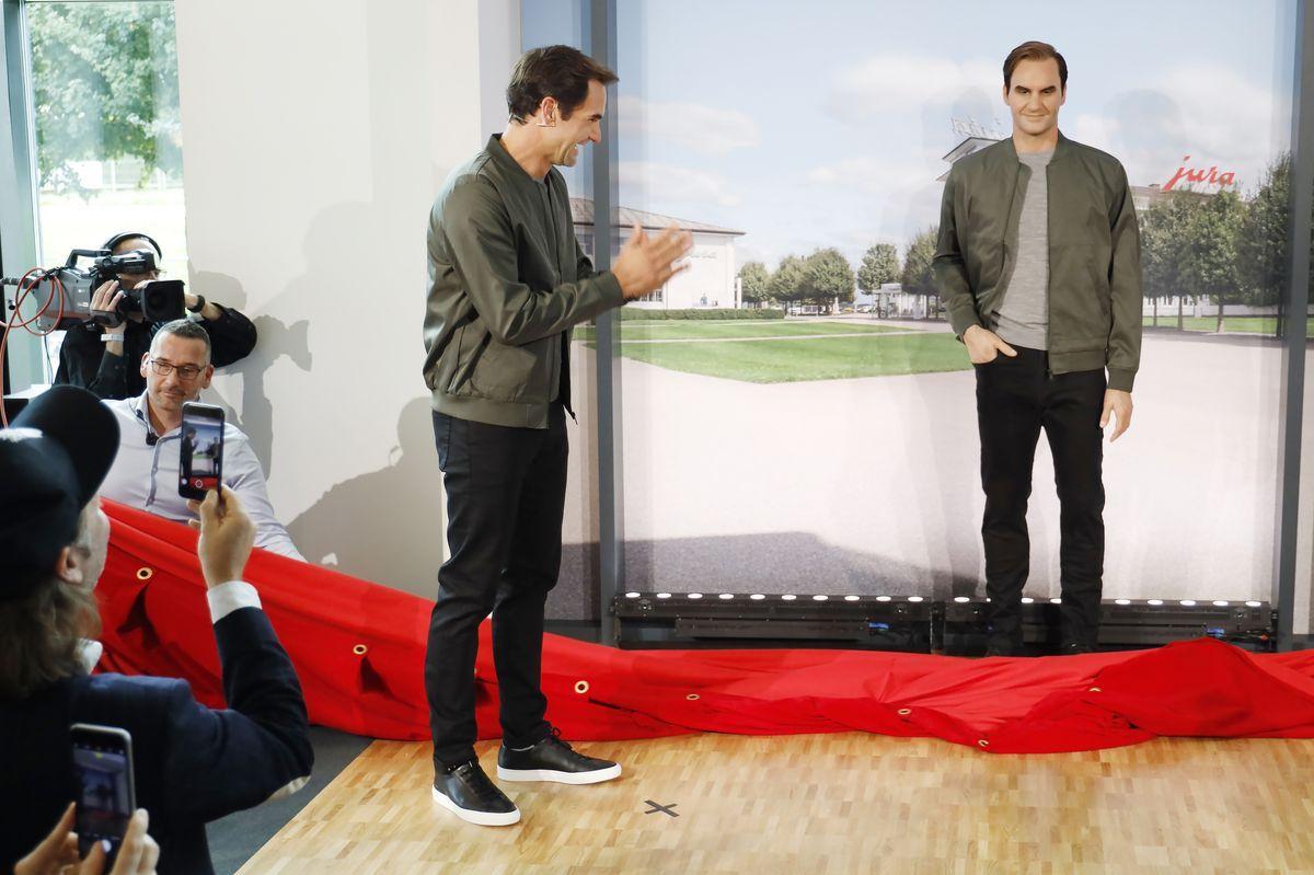 Roger Federer trifft seinen Zwilling