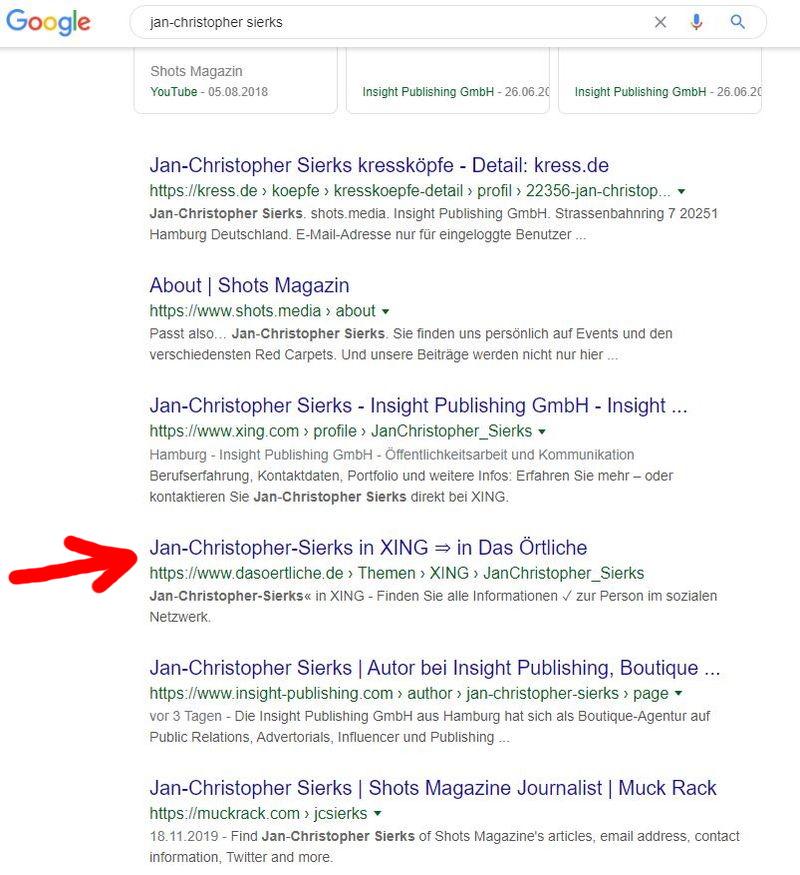"""Google-Treffer von dasoertliche.de mit meinem Namen: Der Hinweis """"Finden Sie alle Informationen ✓ zur Person im sozialen Netzwerk"""" ist eine glatte Fehlinformation."""