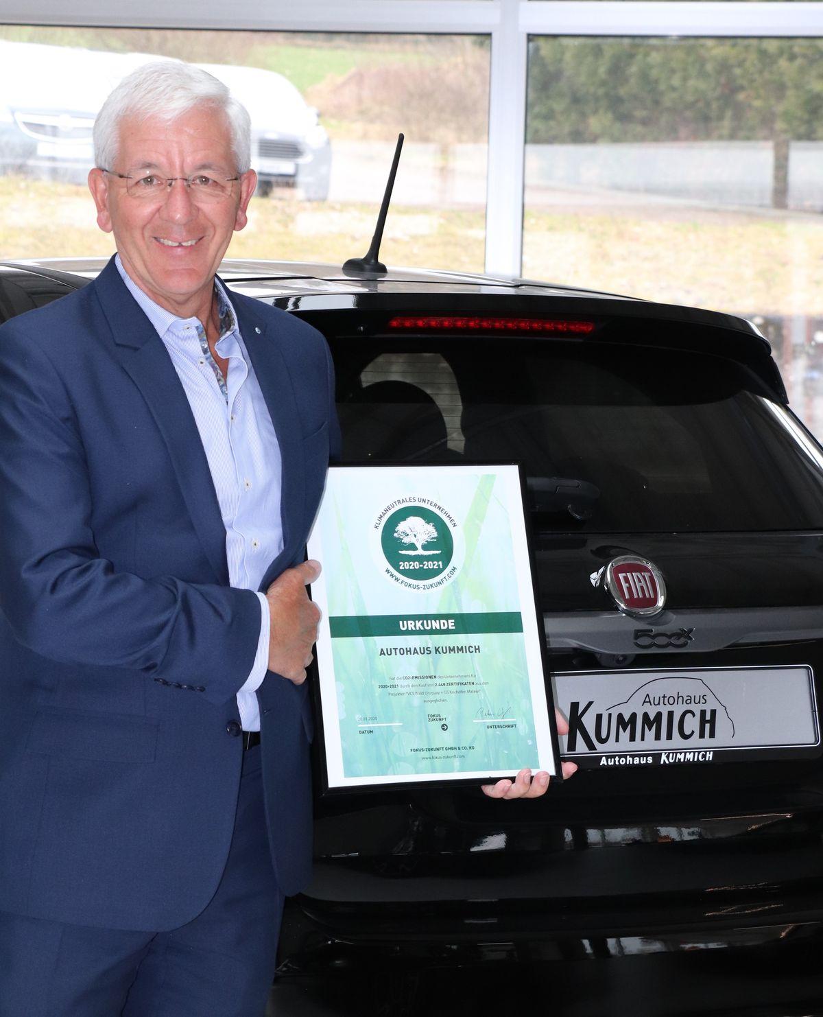 FCA-Partner Autohaus Kummich GmbH als einer der ersten deutschen Vertriebsstandorte bereits für 2020 und 2021 CO2-neutral zertifiziert