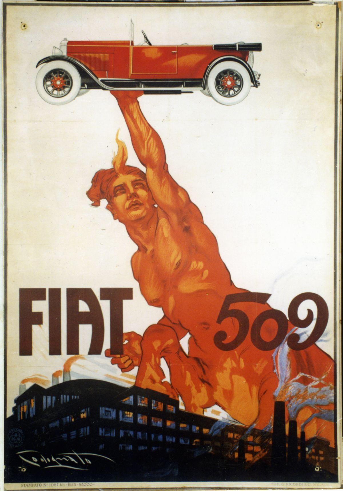 Plakat, Centaur mit Fiat 509, Codognato, 1925, Archivio Storico Fiat