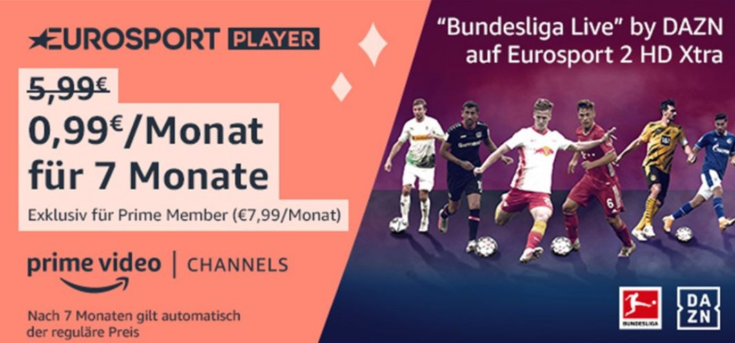 Bundesliga live für 99 Cent im Monat - ab sofort im Eurosport Player bei Prime Video.